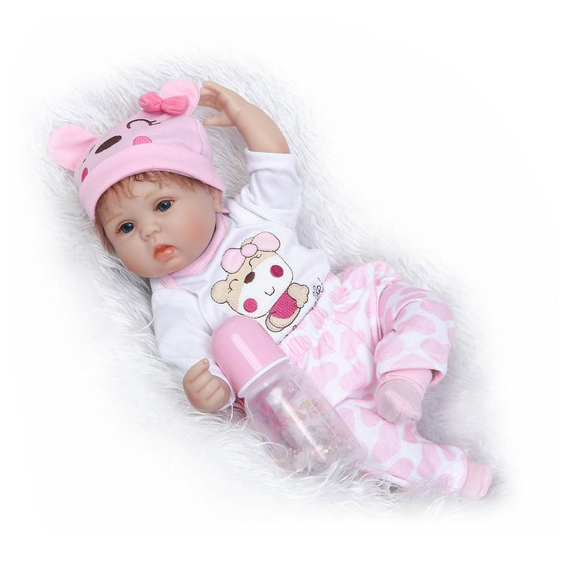 Nicery 18inch 45cm Reborn Baby Doll Magnetic Mouth Soft Silicone Lifelike Girl Toy Gift for Children Christmas Pink Bear Lovely [mmmaww] christmas costume clothes for 18 45cm american girl doll santa sets with hat for alexander doll baby girl gift toy
