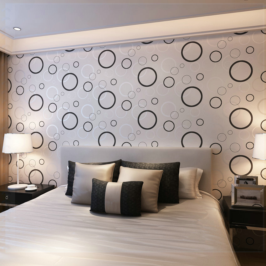 Modern Minimalist Geometric Abstract Black And White Circles Wallpaper For Home Decor Waterproof Wall Paper Roll 10m Pink P In Wallpapers From