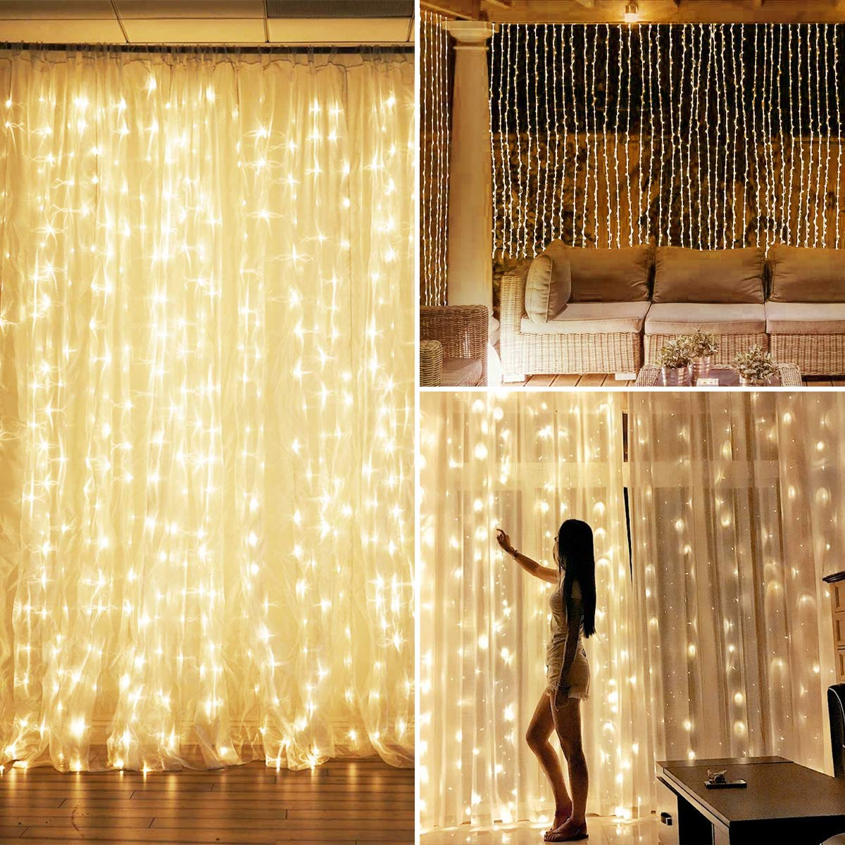 Remote Control LED Curtain Lights With Voice Activated USB Powered 300 LEDs Fairy String Lights For Chrismas/Bedroom/Parties DA