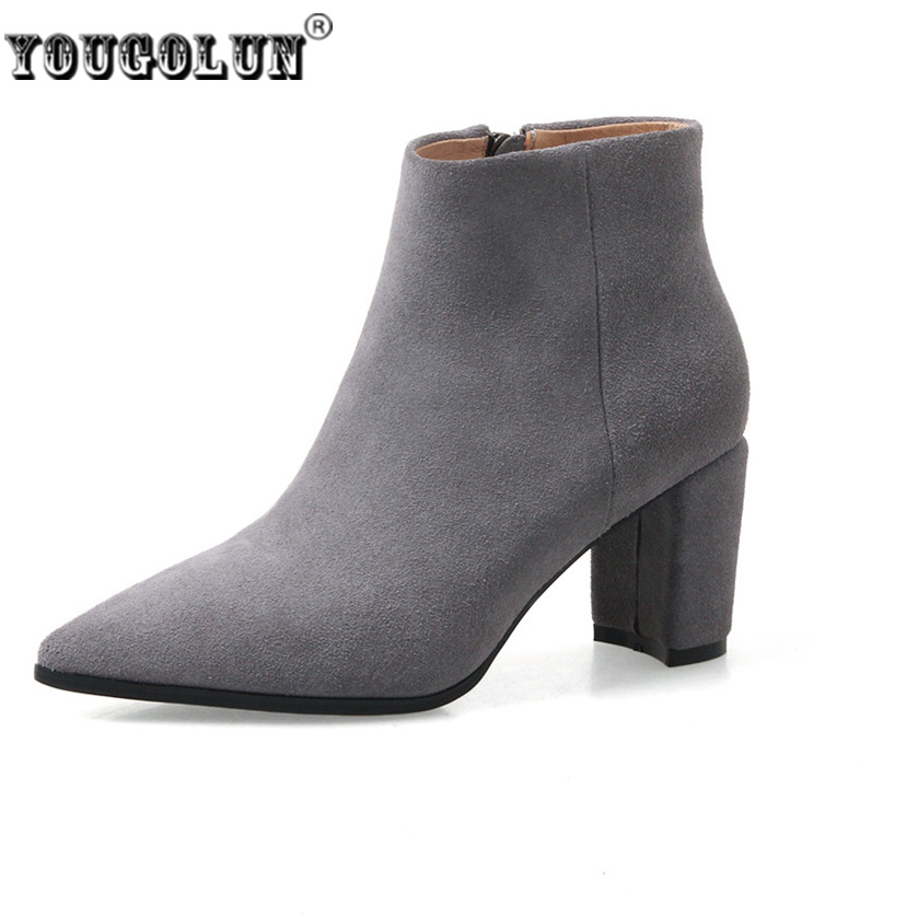 YOUGOLUN Women suede Genuine leather pointed toe Ankle boots women's Autumn winter boots Woman fashion square high heels shoes fashion hot sale genuine leather low heels pointed toe rivets buckle square heel autumn winter women ankle boots