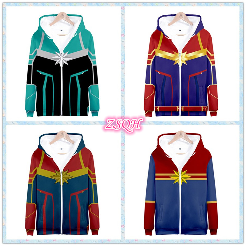 ZSQH Captain Marvel hoodies with hats Ms Marvel Carol Danver Cosplay Costume for adult women Bodysuit Halloween Sweatshirts