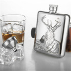 FX-6OZ Gadgets for Man High Quality Luxury Wine Hip Flask Buck Relief Stainless Steel 6 OZ Wine Bottle with Gift Box Flask Set
