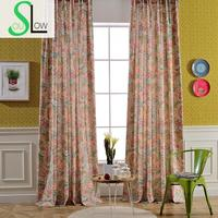 Slow Soul Color Modern Fashion Hand Printing Curtains Pastoral Floral For Living Room Cortinas Window Curtain