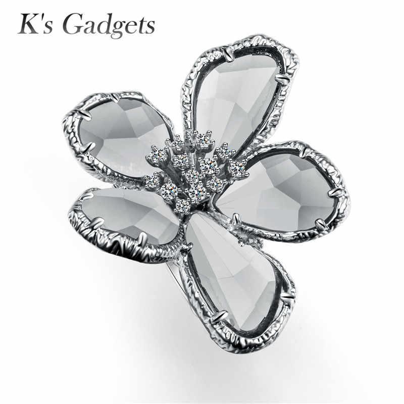 K gads gadgets azul cinza cristal rosa cor de ouro moda grande zircônia cúbica anel de flor legal punk cocktail festa anel feminino jóias