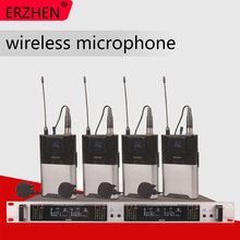 Wireless microphone system 404GT professional microphone 4-channel UHF dynamic professional 4 collar clip line high end uhf 8x50 channel goose neck desk wireless conference microphones system for meeting room