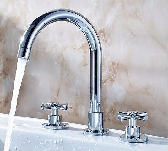 chrome brass material bathroom hot and cold widespread three hole basin faucet,sink tap free shipping