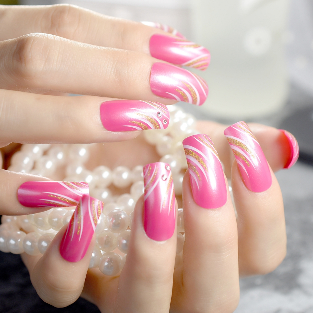 Aliexpress.com : Buy Pink Rose False Nails Gold Glitter ...
