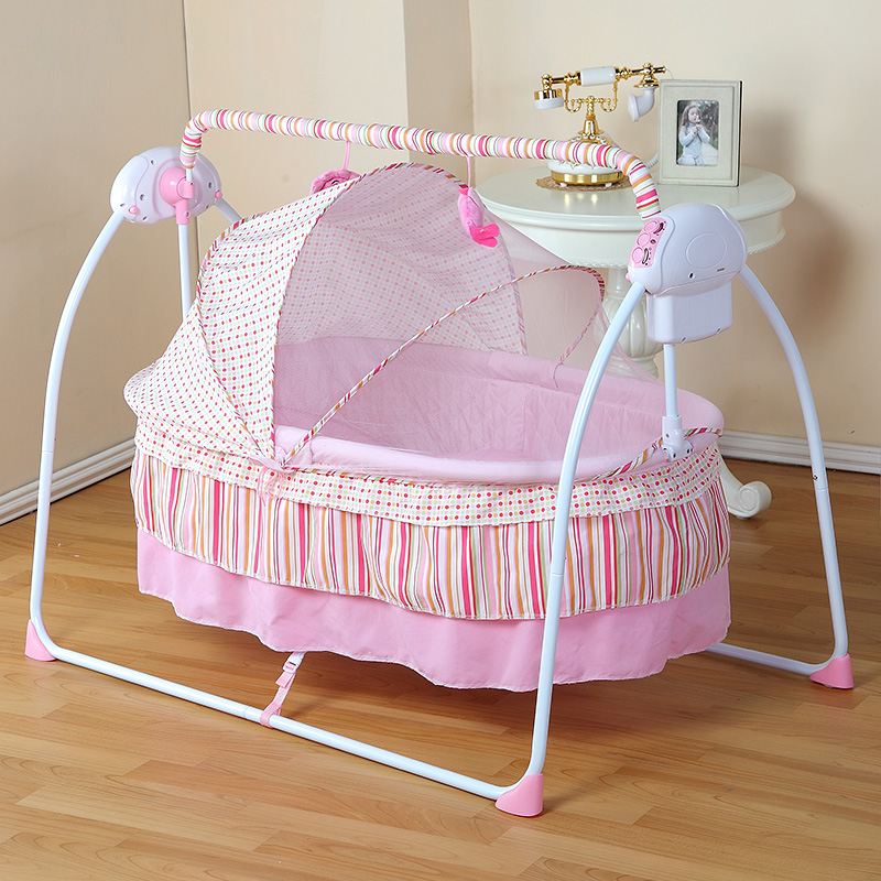 Portable Fashion Electric Baby Crib/Baby Cradle,Electric Baby Rocker, Baby Swing Bed,Big Space100*55cm Suitable For 0-36 Months