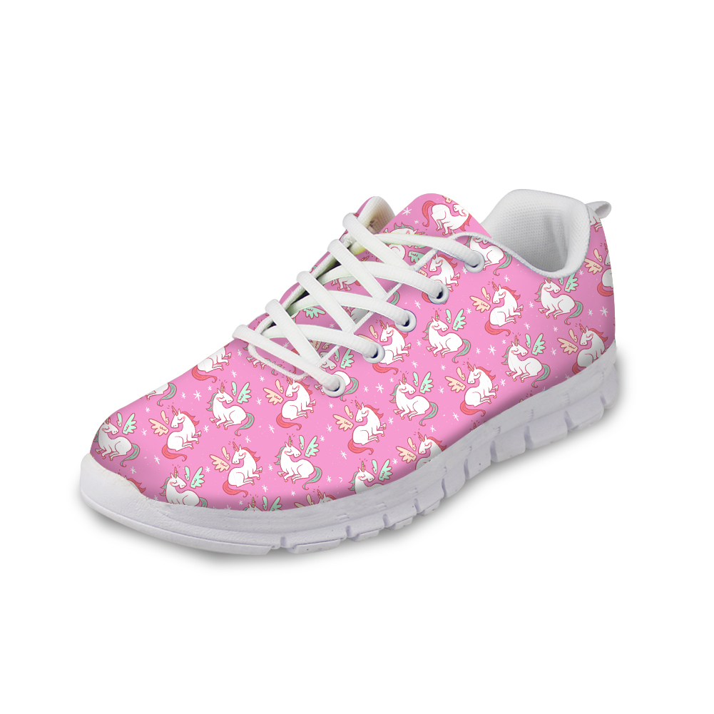 FORUDESIGNS Sneakers Women Flats Pink Shoes Spring Women HOT 3D Cute Unicorn Printed Lace up Comfortable