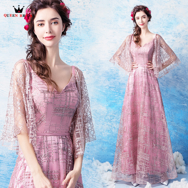 QUEEN BRIDAL Evening Dresses A-line Sequin Floor Length Pink Prom Party Dress Evening Gown Robe De Soiree 2018 New Fashion LS21