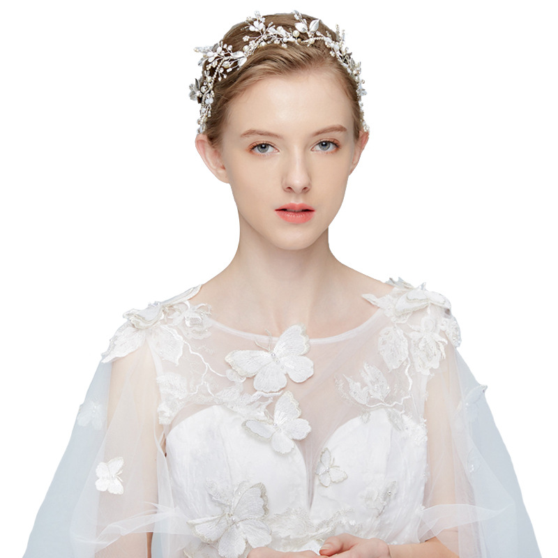 SLBRIDAL Handmade Alloy Crystals Rhinestones Pearls Flower Wedding Hair accessories Hairband Bridal Headband Bridesmaids Women