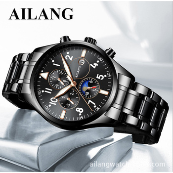 2018 new authentic Ai Lang Swiss men's luminous fashion mechanical leather stainless steel strap multi-purpose waterproof watch