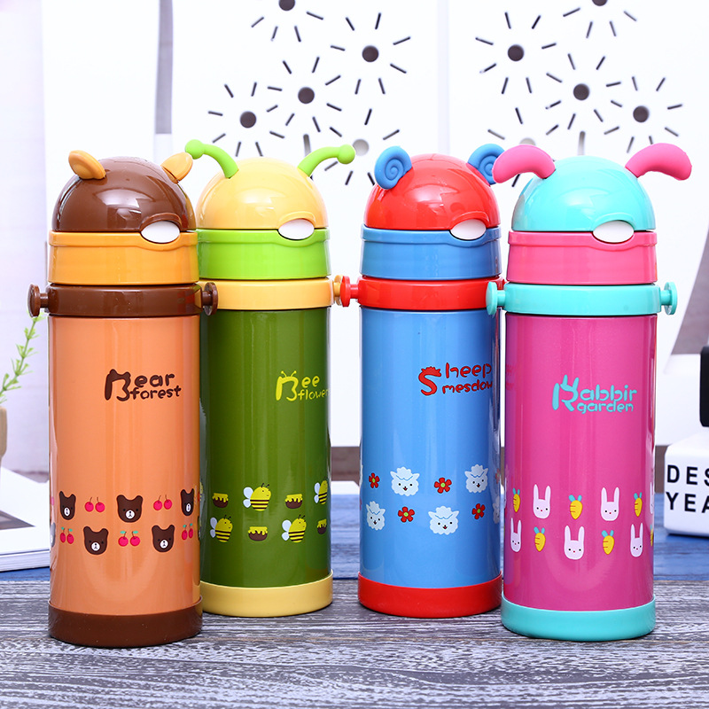 350ml High Quality Kids Vacuum Flasks With Silicone Straw Stainless Steel Children Thermos Mug Thermal Bottle Thermocup BPA Free