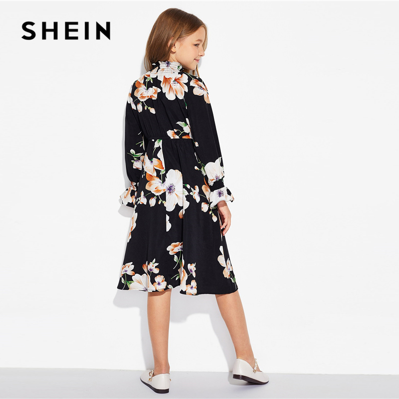 SHEIN Girls Floral Print Stand Collar Elegant Dress Kids Clothing 2019 Spring Korean Long Sleeve A Line Casual Dresses