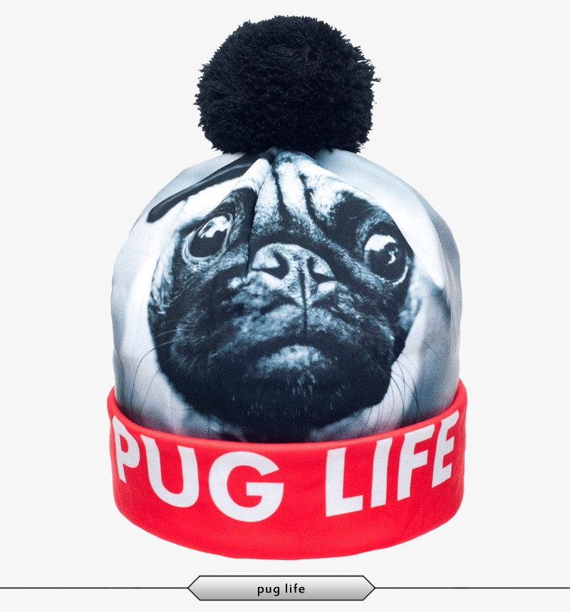 Pug Life Pattern 3D Digital Printed Beanie Pompon Winter Women ...