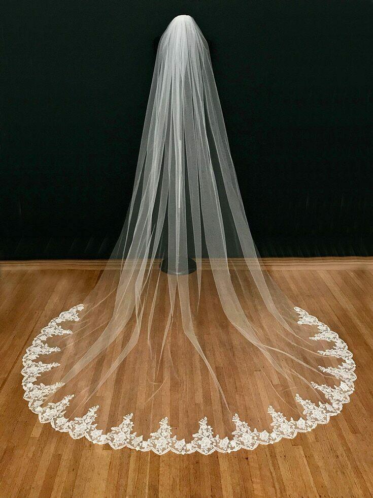 White Ivory Wedding Veil 3m With Comb Lace Mantilla Cathedral Veil Veu De Noiva