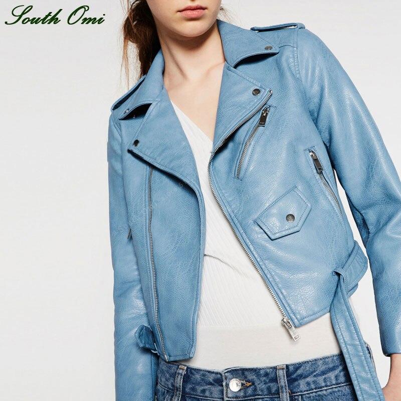 Veste en cuir bleu femme