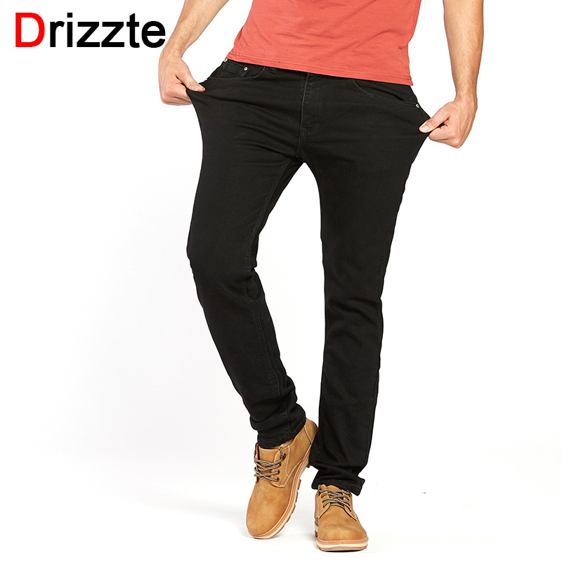 Drizzte Men's Jeans Black High Stretch Denim Brand Men Jeans Size 30 32 34 35 36 38 40 42 Pants Trousers sulee brand 2017 new men skinny jeans stretch fashion classic blue and black slim brand jeans male trousers plus size 38 40 42