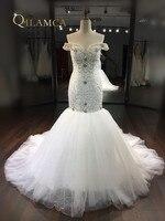新しいデザインの高級ビーズの恋人クリスタルマーメイドウェディングドレス2017ゴージャスなオフショルダートランペット花嫁ドレスローブ·デ·マリ