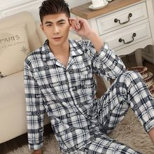 Spring Autumn Man Pajama Set Long Sleeve Warm Cotton For Men Big Size L-XXXL Two Pieces Mens Pyjamas Casual Sleepwear