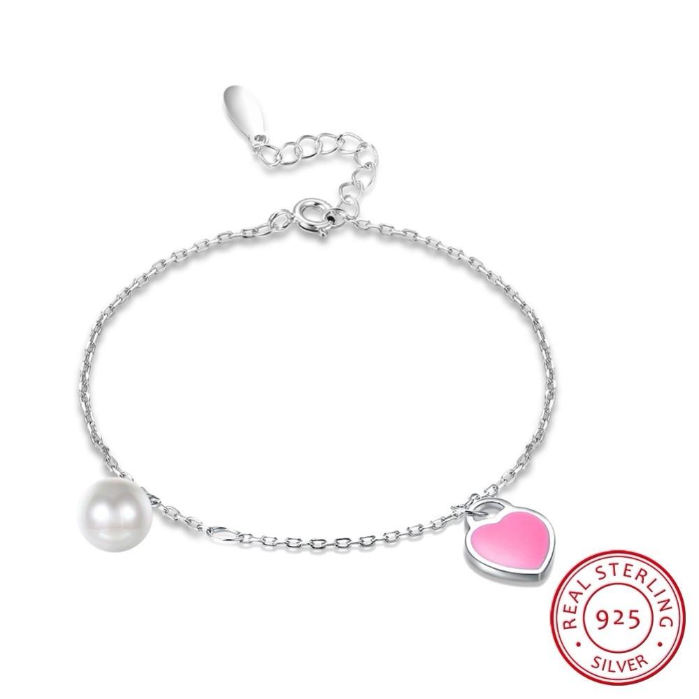 Trendy Sterling Silver Heart Charm Bracelet Freshwater Pearl Glam Women Jewelry Romantic Wanita Cantik Bijoux Love Friend Gift