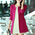 2016 Novos Outono e Inverno das Mulheres Casacos Básicos Sólidos Casual Manga Comprida Outwear Alta Qualidade Magro Casacos Para As Mulheres A743