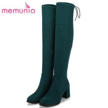 MEMUNIA gorąca sprzedaż niska cena na buty do kolan, żeński, moda eleganckie wysokie obcasy buty kobieta buty elastyczność duży rozmiar 34-45