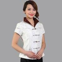 Brand New White Chinese Women Silk Satin Blouse Classy Handmade Button Shirt Flower Tang Suit Tops