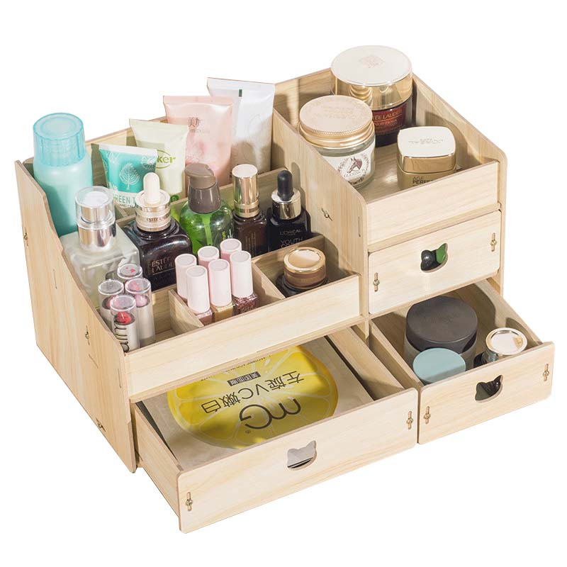DIY Home Wood Desk Sets Cabinet Organizer Wooden Storage Box Decoration Desk Makeup Organizer with Drawer 18inch 45cm silicone baby reborn dolls lifelike doll reborn babies toys for girl princess gift brinquedos children s toys