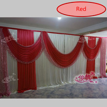 Red Wedding Backdrop Curtain Sequins Swag Ice Silk Stage Background Curtain Party Wedding Decorations 3m*6m(10ft*20ft) Free DHL