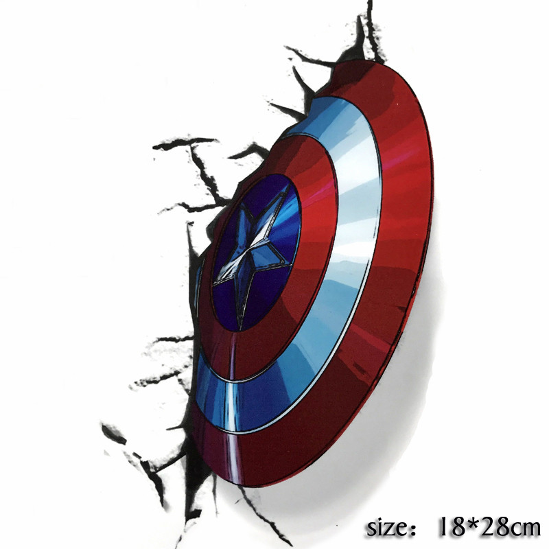NEW 3D Captain America Laser Sticker Marvel Avengers Stickers Car Fridge Motorcycle Decal Sticker