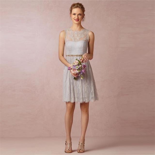 hasta la rodilla de encaje plata de dama de honor vestidos tallas