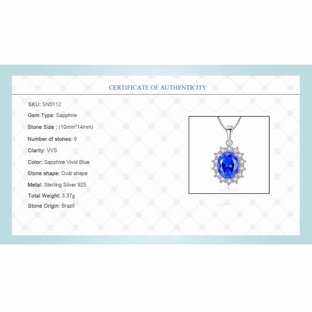 CZCITY Elegant Oval Princess Diana William Sapphire Pendant Necklace for Women 100 925 Sterling Silver Charms CZCITY Elegant Oval Princess Diana William Sapphire Pendant Necklace for Women 100% 925 Sterling Silver Charms Necklace Jewelry