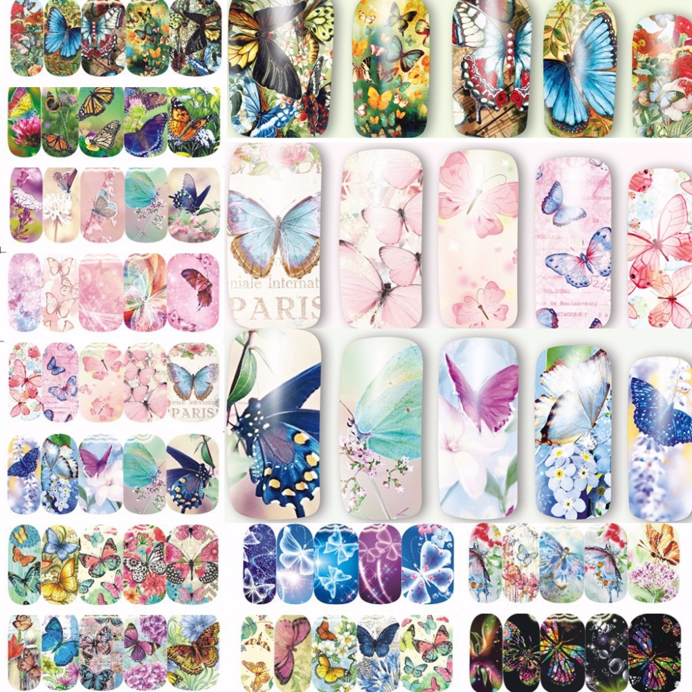 12 sheets beauty butterfly mixed designs full Water Transfer Stickers Nail Art decals Sticker Nails Accessories manicure tools 24sheets nail sticker cat designs water transfer nails art loveliness cartoon cat gel beauty decal makeup manicure wrap decals