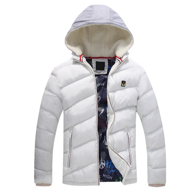e6f409a01 parkas Men winter hooded warm cotton clothing Fashion Brand Men's Slim  Outwear Coat Casual Thick Down Jackets Solid color coat