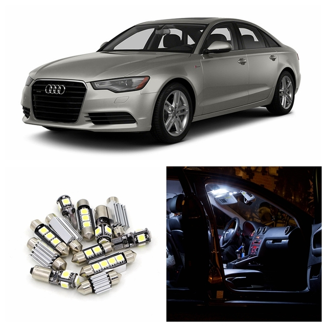 12pcs Canbus Car White LED Light Bulbs Interior Package Kit For 2012 2013  2014 Audi A6