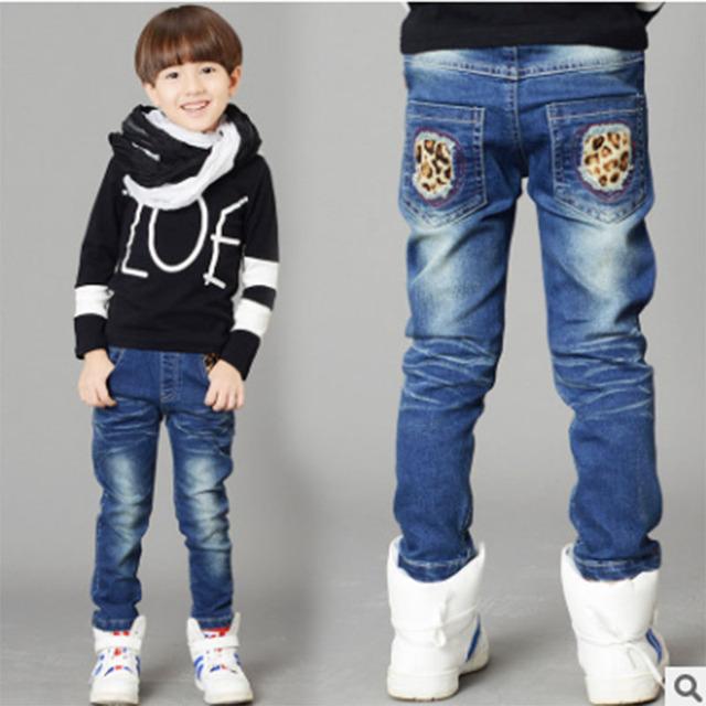 Moda Primavera 2017 Crianças de Jeans Meninos Calças Jeans de Lavagem de Luz Jeans Meninos para Meninos Regulares Elástico Da Cintura das calças de Brim das Crianças P258