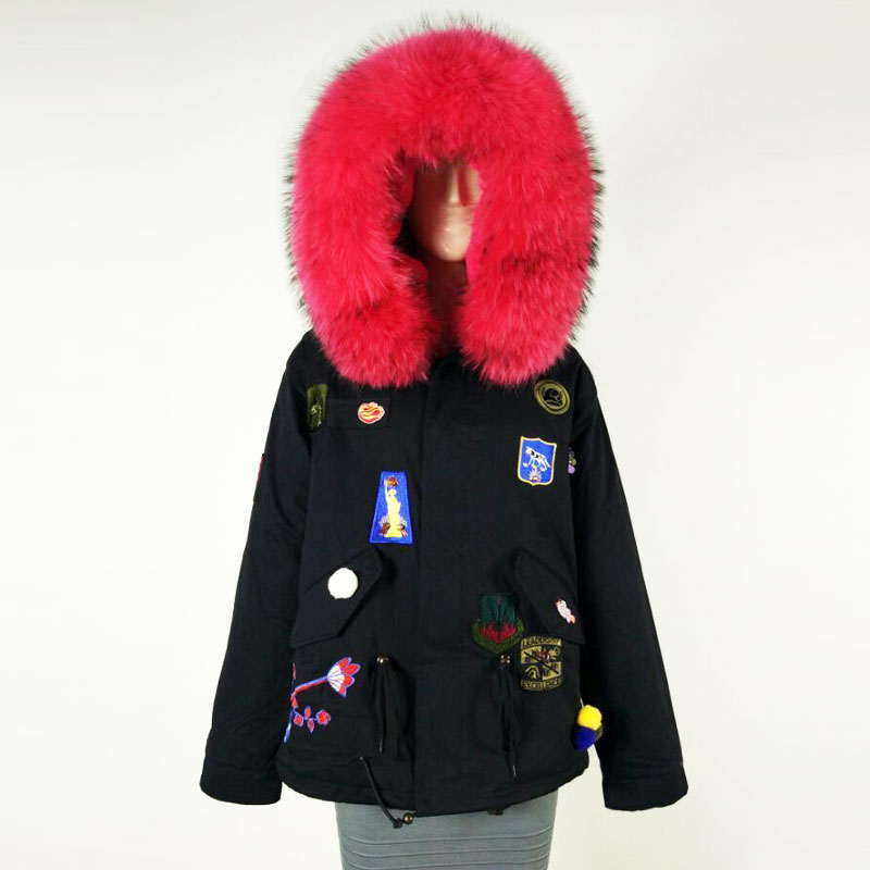 New Arrival Black Jacket with Embroidery & Badge Peach Big raccoon collar Factory sale Jacket