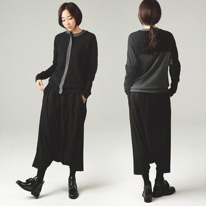 Jaro podzim ženy Široké nohavice kalhoty módní volné pevné černé kalhoty rozkrokové kalhoty S-XL