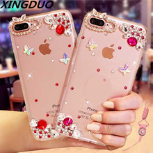 XINGDUO  Fashion Bling Crystal Pearl Rhinestone Soft Clear Case Cover Transparent shell For SamsungS9 S8 S10 Plus Note 8 9