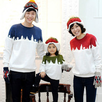 Christmas Family Matching Outfit Mom Dad Kid Winter Sweater Long Sleeve Thicken Plus Velvet Top T Shirt Xmas Family Look Clothes