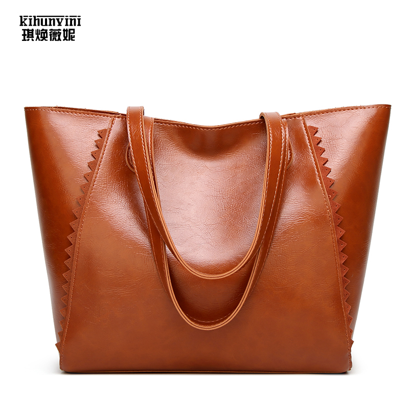 KIHUN New Leather Tote Bag Women Handbags Designer Large Capacity Shoulder Bags Fashion Female Purses Ladies Shopping Bag Bolsas