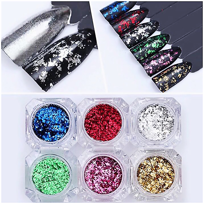 0 2g box Nail Art Glitters Mixes Sequins 8 Colors Classical Silver Gold Nail Glitter Dust Magic Effect Mirror Nail Glitter LRW in Nail Glitter from Beauty Health