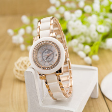 Assez De Luxe Cristal de Diamant En Céramique et En Alliage Or Rose Quartz Montre-Bracelet Montre Bracelet pour Femmes Filles Femelle Blanc OP001