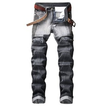 цены Trendy personality European and American style high-end brand pleated men jeans street Slim stretch color matching men's pants