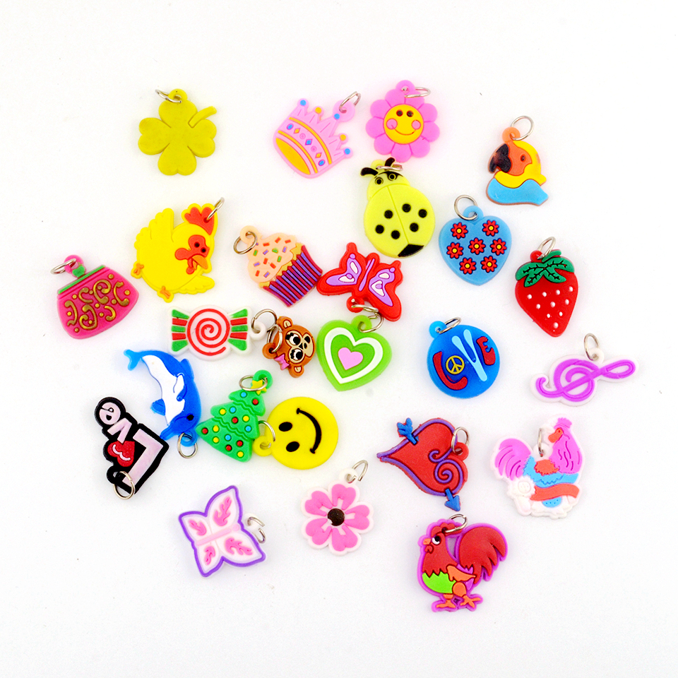 20pcs Style DIY Cartoon Colorful Animal Flower Beads Pendants Toys For DIY Colorful Loom Rubber Bands Bracelet Making Kit