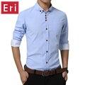 2017 Primavera Camisa de Los Hombres de Moda de Oxford Camisas de Vestir Slim Fit Largo manga Masculina Social Camisas Casuales Camisa Plus Tamaño 4XL 5XL X507
