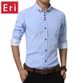 2017 Primavera Oxford Camisa Dos Homens Camisas de Vestido de Moda Slim Fit Longo Camisas Casual Camisa Social Masculina de manga comprida Plus Size 4XL 5XL X507