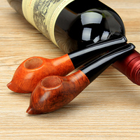 Classic Master Class Snail Shape Bruyere Bent Type Food grade Plastic Mouthpiece Smoking Pipe Wooden Tobacco Pipe PW 66