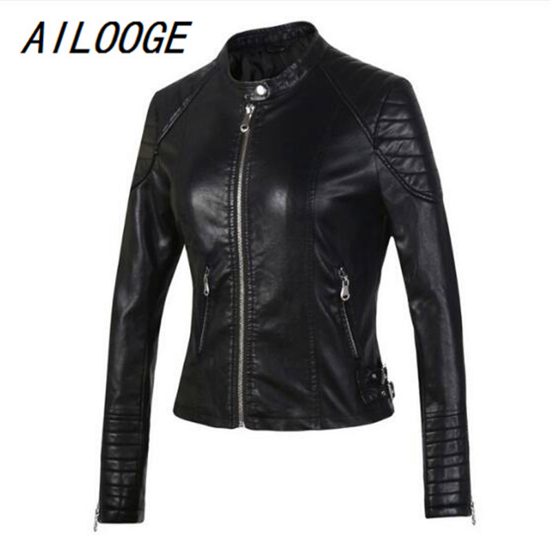 AILOOGE 2018 Fashion Women Elegant Zipper Faux   Leather   Biker Jacket Black Slim Ladies Coat Casual brand Motorcycle   Leather   Co